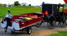 An Amish buggy towing a motorboat? See more: http://www.gypsynester.com/am.htm