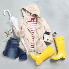Be prepared and stylish for the unpredictable spring weather with light layers and your brightest galoshes (perfect for puddles!).