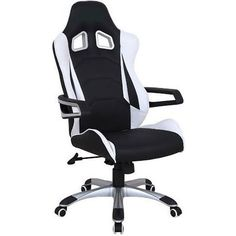 PU Leather Racing Office Chair in Black and White | Buy Black Office Chairs