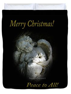 "Sleeping Cherub 1 Merry Christmas Queen (88"" x 88"") Duvet Cover by Tamara Kulish"