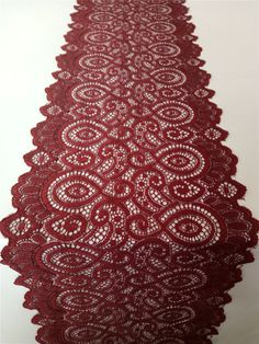 """Wine red lace table runner,  7"""", wedding table runner ,  lace table runner,   wedding runners,  lace table runner ,  R15122701"""