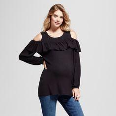 Maternity Ruffled Yoke Long Sleeve Cold Shoulder Blouse MaCherie Black XL, Women's