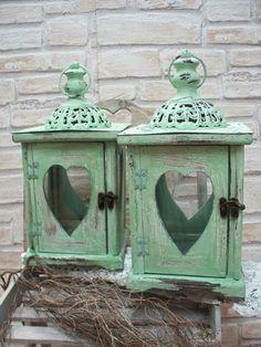 Laterne aus Holz,grün, Vintage-Shabby,Herzgläser von ...die mit den Blumen tanzt... auf DaWanda.com