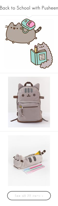 """""""Back to School with Pusheen"""" by polyvore-editorial ❤ liked on Polyvore featuring bags, backpacks, cat, cat bag, cat backpack, backpack bags, rucksack bag, knapsack bag, home and home decor"""