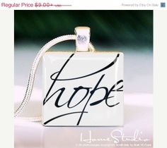 Anniversary Sale  Hope Script  pendant jewelry from by HomeStudio, $6.99