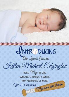 Baby Boy Baseball Birth Announcement by ckfireboots on Etsy, $12.00