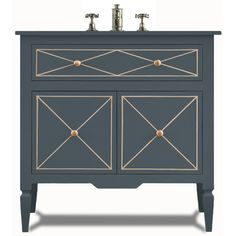 Valentino Sink Base - w/Doors in Pacific Blue Finish  | J. Tribble bathroom vanity