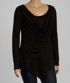 Another great find on #zulily! Black Drape Top - Plus by Celeste #zulilyfinds