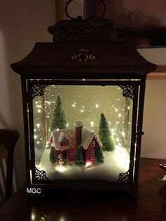 Cheap and Easy Dollar Store Christmas Decorating Ideas – Winter Scene Lantern : Create some awesome Christmas decorations for your home this festive season with a winter scene in a jar or lantern. You can buy all the supplies you need at your local dollar Lantern Christmas Decor, Christmas Table Centerpieces, Rustic Christmas, Xmas Decorations, Simple Christmas, Christmas Holidays, Christmas Ornaments, Vintage Christmas, Cheap Christmas