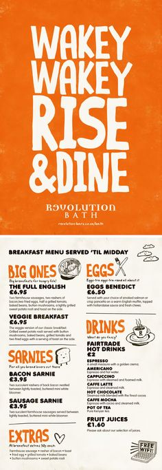 Breakfast Menu, Colourful Graphic Design Menu by www.diagramdesign.co.uk