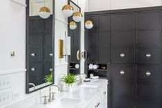 Terrific Totally Free Bathroom Mirror brass Suggestions Perhaps you have looked over your current ancient bathroom mirror and merely expected you could have Modern Farmhouse Bathroom, Modern Farmhouse Style, White Double Vanity, Linen Cabinet, Modern Shower, Bathroom Trends, Home Upgrades, Bathroom Styling, Messing
