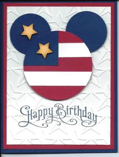 handmade birthday card ... red, white and blue evokes the flag ... Mickey Mouse shape from circles ... stars embossing folder main panel .... luv the crisp and fun look ...