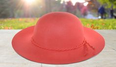 Coral Felt Sun Hat with Braided Crown Detail