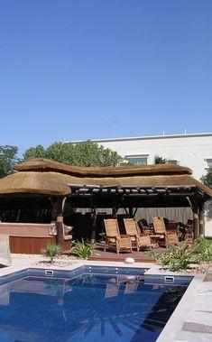 Customized poolside thatched gazebo with timber pergola and decking! Outdoor Gazebos, Outdoor Spaces, Outdoor Living, Outdoor Decor, Outdoor Kitchens, Built In Braai, Timber Pergola, Nova, Backyard Pool Designs