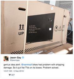 Van Moof die zijn fietsen verscheept in een doos waarop een televisie te zien is. Hierdoor werd er 75% minder schade gemeld doordat mensen voorzichtiger met het pakket om gingen.