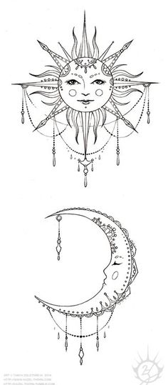 Bohemian Sun and Moon, tattoo design (inked) by rose green