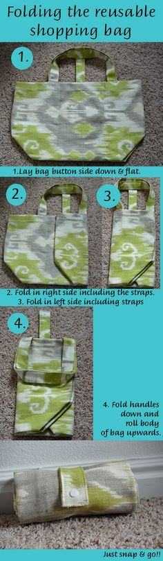 Tutorial: Folding Grocery Tote | Bag sewing patterns, Sewing ...