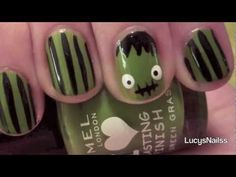 super cute/kawaii frankenstein halloween nail art tutorial on youtube!