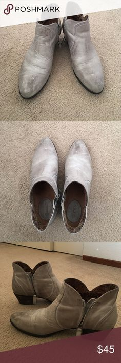 Grey ankle booties Grey leather, comfortable, rubber sole, worn 3 times. 1-5 inch wooden heel Ariat Shoes Ankle Boots & Booties