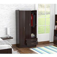 Inval Three Door Wardrobe/Armoire, Espresso-Wengue Finish