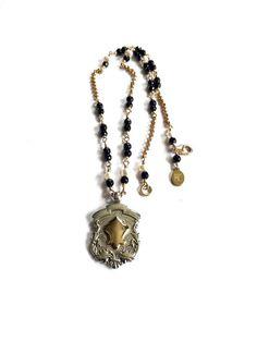Onyx Necklace Vintage Silver Fob Necklace by FribblePistol on Etsy