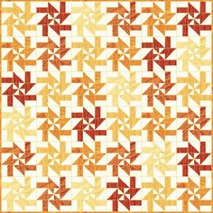 "Gorgeous fall colors combine with a play on traditional quilt patterns with this Sunburst Disappearing Pinwheel Pattern. Fall into fall with this free quilt pattern that's perfect for layer cakes or other pre-cuts in cheerful warm autumn hues. The disappearing block method of this quilt may look intimidating at first but we promise this quick and easy quilt looks intricate while being super simple to make. This <a href=""http://www.favequilts.com/tag&#x2..."