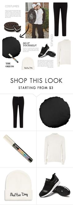 """Couple Costumes: Oreo"" by putricp ❤ liked on Polyvore featuring Lost Ink, Marvy, Topman, COLLECTION 18, Halloween, oreo and Couplecostumes"