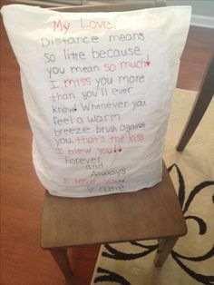 Love letter pillow case. Make and send one with your next care package! So simple and sweet :) #ldr