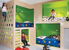 Bunk beds with climbing wall - we need to build something like this for our room sharing kids.