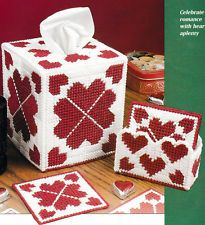 ~ ~PLASTIC CANVAS **  PATTERN ONLY ** ~ HEARTS AFIRE TISSUE BOX COVER ~ ~ ~