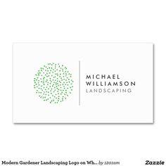 Modern Gardener Landscaping Logo on White Double-Sided Standard Business Cards (Pack Of 100)