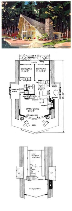 COOL House Plan ID: chp-5581 | Total living area: 1274 sq ft, 3 bedrooms & 2 bathrooms. #cabinplan