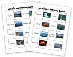 Landforms memory game. Printable and free.
