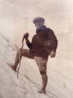 antique framed photo of man climbing mountain by goodkarmakc 3400