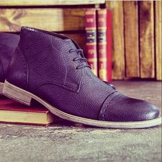 Black leather men's #chukka boots. The perfect casual men's footwear!