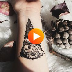 Camping In The Mountains, Pine Forest, Tent, Campfire, River Temporary Tattoo, Black Line, #tattoo #amazingtattoos Festival Camping, Pine Forest, Mandala Tattoo, Temporary Tattoo, Tent Camping, Cool Tattoos, Tattoo Black, River, Mountains