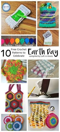 A round up of 10 free crochet patterns that are functional, reusable items to help reduce waste. They are fast and beginner friendly! Make one or make all of these eco friendly patterns and then use them to reduce, reuse, recycle in celebration of Earth Day!