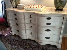 Chalk Paint® decorative paint by Annie Sloan.  Old White and clear/dark wax.