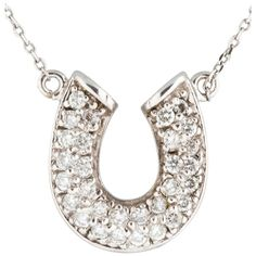 Pre-owned 14k White Gold Horse Shoe Pendant Necklace ($1,215) ❤ liked on Polyvore featuring jewelry, necklaces, accessories, none, horse necklace, white gold chain necklace, 14k necklace, 14 karat gold necklace and white gold pendant necklace