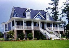 Elevated House Plans With Porches Porches, Elevated House Plans, Low Country Homes, Modern Country, Big Bedrooms, Country Bedrooms, Basement Bedrooms, Southern House Plans, Southern Cottage