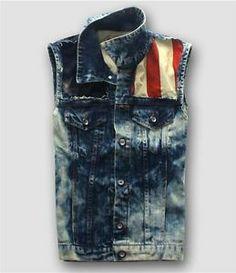 mens denim vest | New Vest influx of men's denim vest in denim clothing vest punk Rock ...