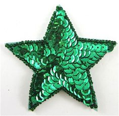 Star with Green Sequins and Beads 2""