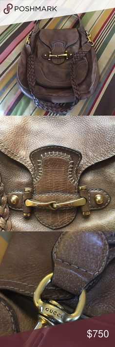 Gucci 💝 horse bit handbag 💯Authentic Gorgeous pebbled leather, rich gold hardware. Gently used condition Gucci Bags Shoulder Bags