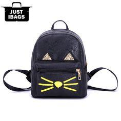 Printing Cute Cat Women PU Sequin mini Backpack School Bag backpacks  teenager girls Lady Heard bagsfemale Cartoon