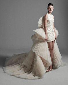 Krikor Jabotian 2020 Spring Bridal Collection – The FashionBrides Wedding Dress Sketches, Designer Wedding Dresses, Krikor Jabotian, Colored Wedding Gowns, Ball Gowns Evening, Bridal Collection, Bridal Style, Catwalk, Bridal Gowns
