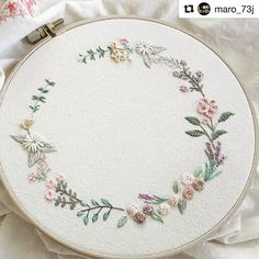 Embroidery.  Subtle, pretty colour palette.