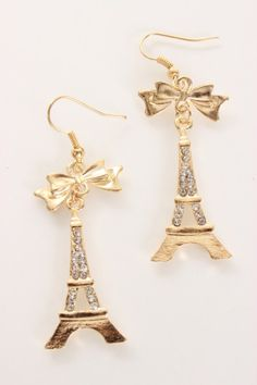 Gold Rhinestone Eiffle Tower Dangle Earrings
