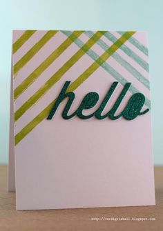 Clean + simple glitter card for @Papertreyink1 April 2013 blog hop.