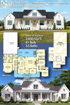 New House Plans, Dream House Plans, House Floor Plans, My Dream Home, Modern House Plans, Modern Farmhouse Plans, Farmhouse House Plans, Southern Farmhouse, Farmhouse Ideas