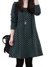 Round Neck Black Long Sleeve Dot Dress on sale only US$23.97 now, buy cheap Round Neck Black Long Sleeve Dot Dress at lulugal.com